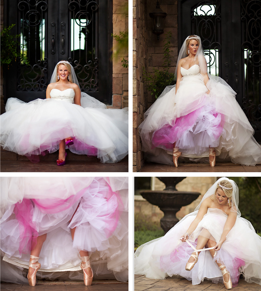 In her shoes wedding dress picture laying